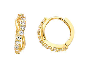 14K Real Yellow Gold Cubic Zirconia Round Small Huggies Earrings