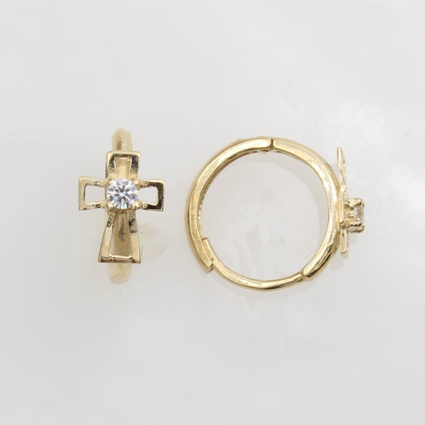 14K Real Yellow Gold Cross Cubic Zirconia Small Huggies Earrings for Baby and Children