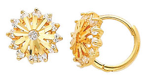14K Real Yellow Gold Flower Cubic Zirconia Round Small Huggies Earrings for Baby and Children
