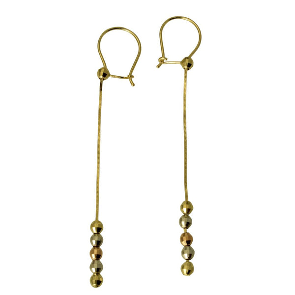 14K Real 3 Color Yellow White Rose Gold Fancy Ball Dangle Hanging Hook Earrings for Woman