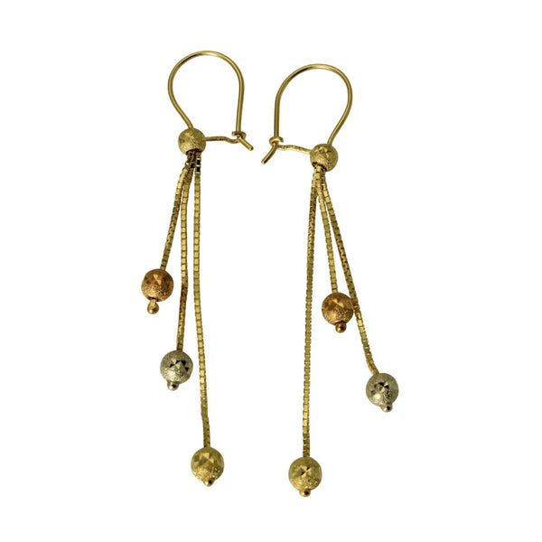 14K Real 3 Color Yellow White Rose Gold Fancy 3 Lines Ball Dangle Hanging Hook Earrings for Woman