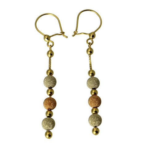 14K Real 3 Color Yellow White Rose Gold Fancy Ball Drop Dangle Hanging Earrings