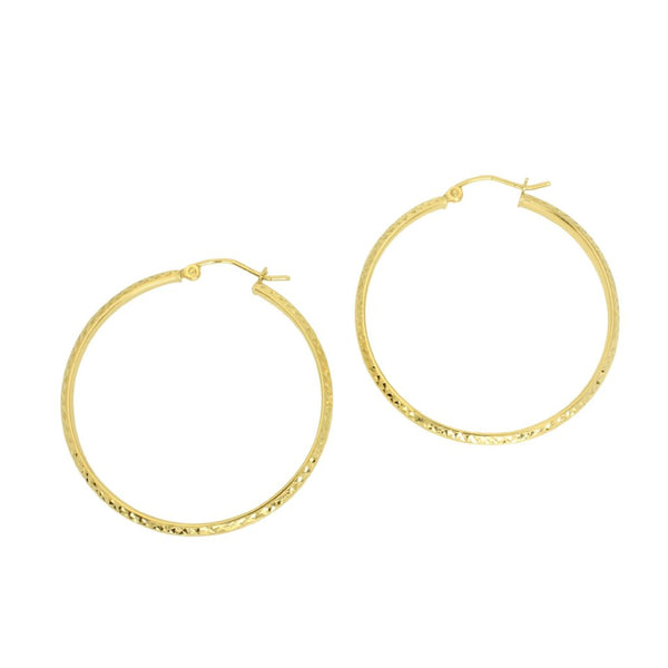 14K Real Yellow Gold 3mm Thickness Diamond Cut High Polished Fancy Cut Hoop Earrings