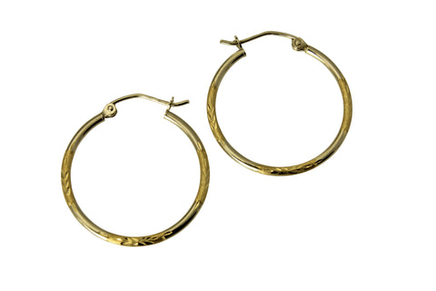 "14K Real 2 Tone Yellow White Gold 1.5mm Thickness Diamond Cut Satin Hinged Hoop Earrings 24 mm?? ( 15/16"" )"