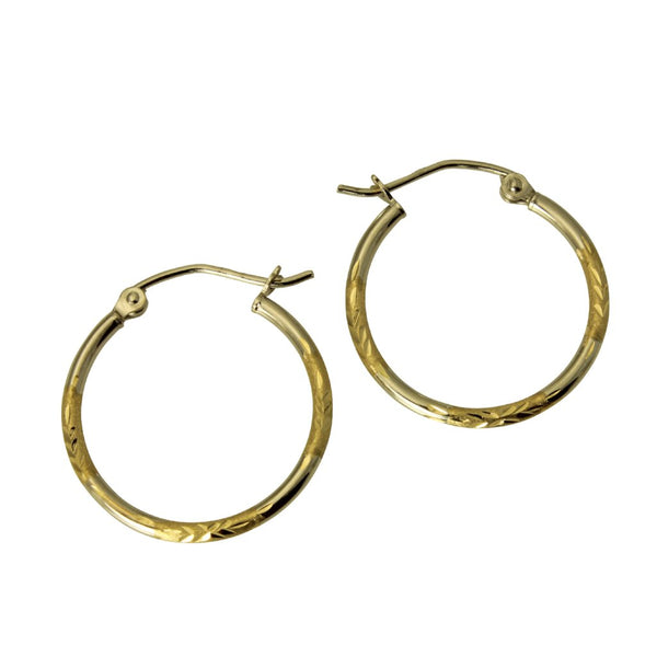 "14K Real 2 Tone Yellow White Gold 1.5mm Thickness Diamond Cut Satin Hinged Hoop Earrings 20 mm?? ( 13/16"" )"