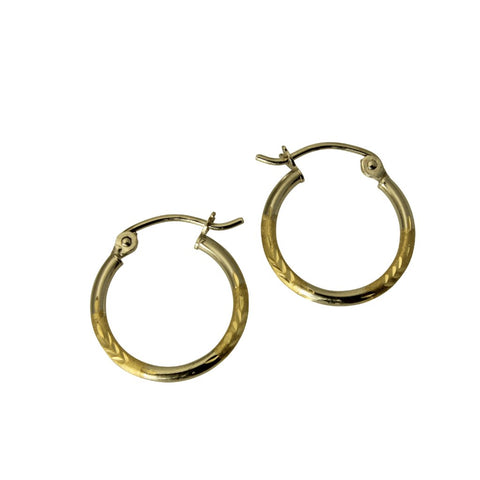 "14K Real 2 Tone Yellow White Gold 1.5mm Thickness Diamond Cut Satin Hinged Hoop Small Earrings 15 mm ( 9/16"" )"