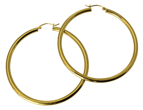 "14K Real Yellow Gold 3mm Thickness Polished Hinged Hoop Large Earrings 55mm ( 2 3/16"" )"