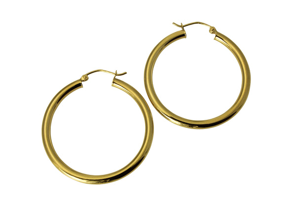 "14K Real Yellow Gold 3mm Thickness Polished Hinged Hoop Earrings 35 mm?? ( 1 3/8"" )"