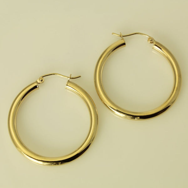 "14K Real Yellow Gold 3mm Thickness Polished Hinged Hoop Earrings 29mm ( 1 1/8"" )"