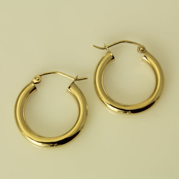 "14K Real Yellow Gold 3mm Thickness Polished Hinged Hoop Earrings 20 mm?? ( 13/16"" )"