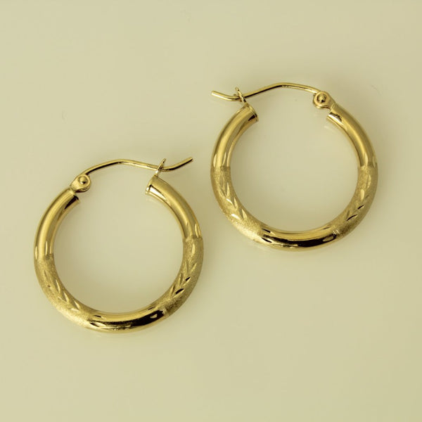 "14K Real Yellow Gold 3mm Thickness Diamond Cut Satin Hinged Hoop Earrings 25mm ( 1"" )"