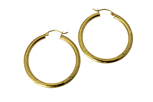 "14K Real Yellow Gold 3mm Thickness Diamond Cut Satin Hinged Hoop Earrings 35mm ( 1 3/8"" )"
