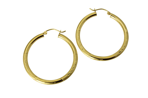 "14K Real Yellow Gold 3mm Thickness Diamond Cut Satin Hinged Hoop Earrings 29mm ( 1 1/8"" )"