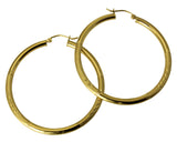 "14K Real Yellow Gold 3mm Thickness Diamond Cut Satin Hinged Hoop Earrings 55mm ( 2 3/16"" )"