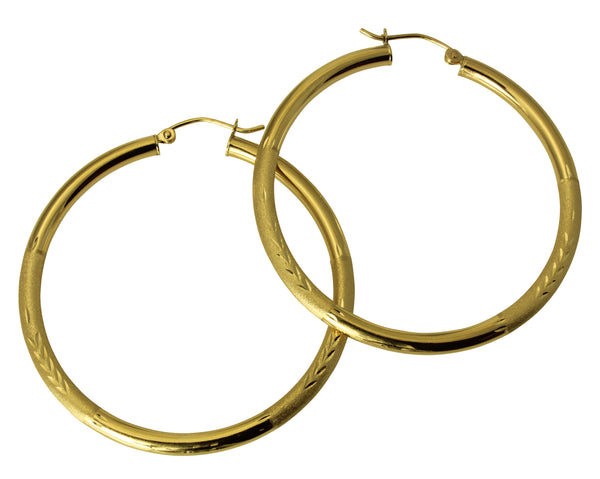 "14K Real Yellow Gold 3mm Thickness Diamond Cut Satin Hinged Hoop Earrings 45mm ( 1 3/4"" )"