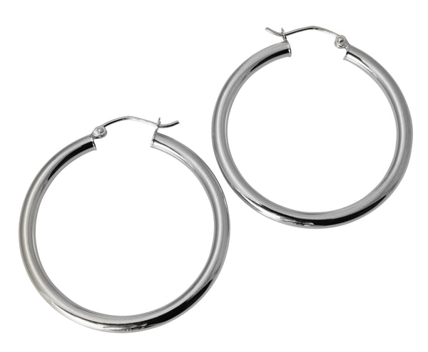 "14K Real White Gold 3mm Thickness Polished Hinged Hoop Earrings 35mm ( 1 3/8"" )"