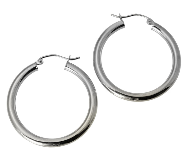 "14K Real White Gold 3mm Thickness Polished Hinged Hoop Earrings 29mm ( 1 1/8"" )"