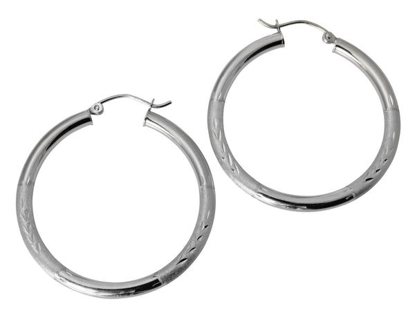 "14K Real White Gold 3mm Thickness Diamond Cut Satin Hinged Hoop Earrings 35mm ( 1 3/8"" )"