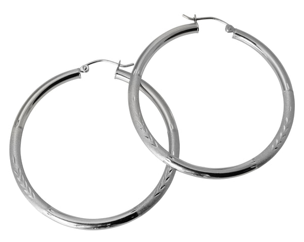 "14K Real White Gold 3mm Thickness Diamond Cut Satin Hinged Hoop Earrings 45mm ( 1 3/4"" )"