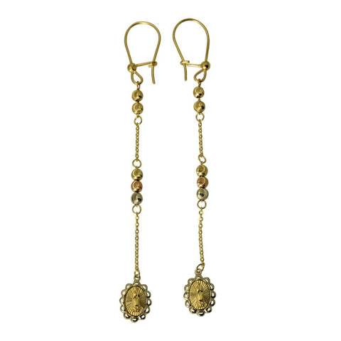 14K Real 3 Color Yellow White Rose Gold Virgin Guadalupe Diamond Cut Ball Dangle Hanging Earrings