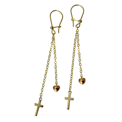 14K Real 3 Color Yellow White Rose Gold Cross Heart Dangle Hanging Earrings