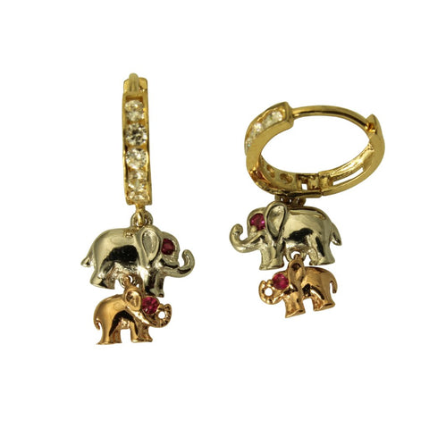 14K Real 3 Color Yellow White Rose Gold Elephant Cubic Zirconia Dangle Huggies Hanging Earrings