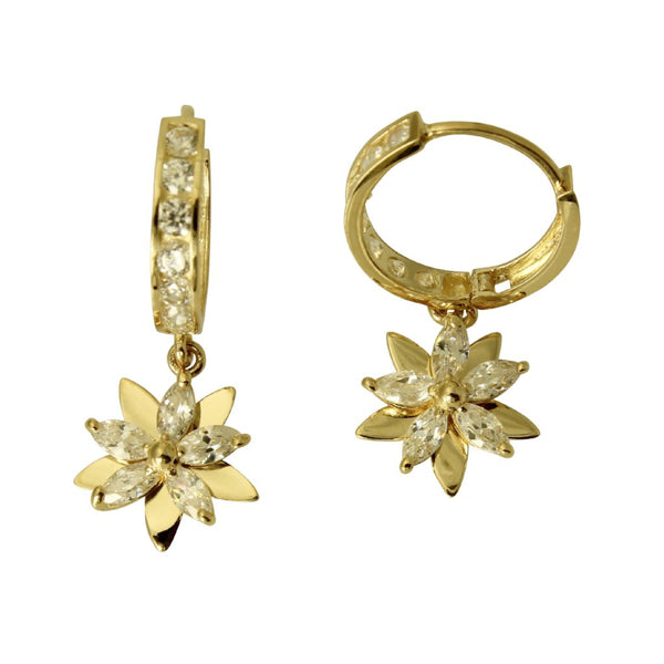 14K Real Yellow Gold Flower Dangle Cubic Zirconia Huggies Hanging Earrings