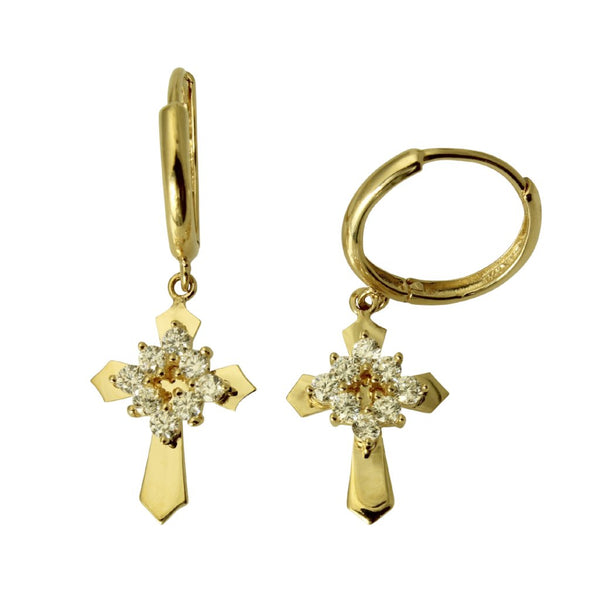 14K Real Yellow Gold Fancy Dangle Cross Cubic Zirconia Hanging Huggies Earrings
