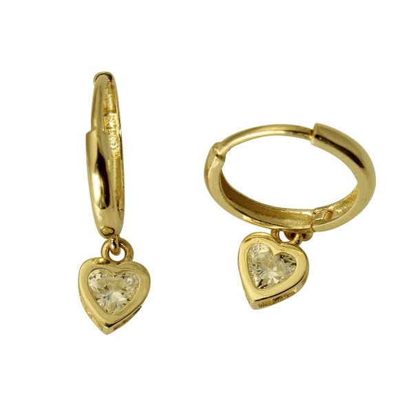 14K Real Yellow Gold Fancy Dangle Heart Love Cubic Zirconia Hanging Huggies Earrings