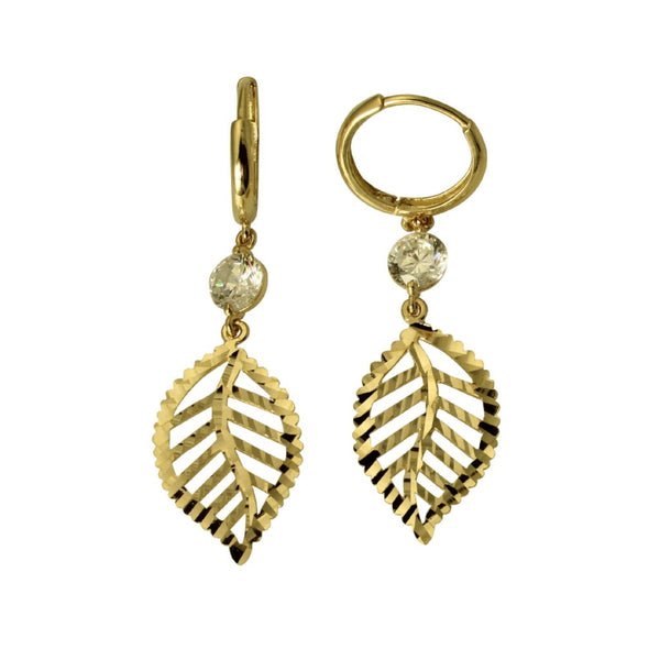 14K Real Yellow Gold Fancy Leaf Diamond Cut Cubic Zirconia Dangle Hanging Huggies Earrings