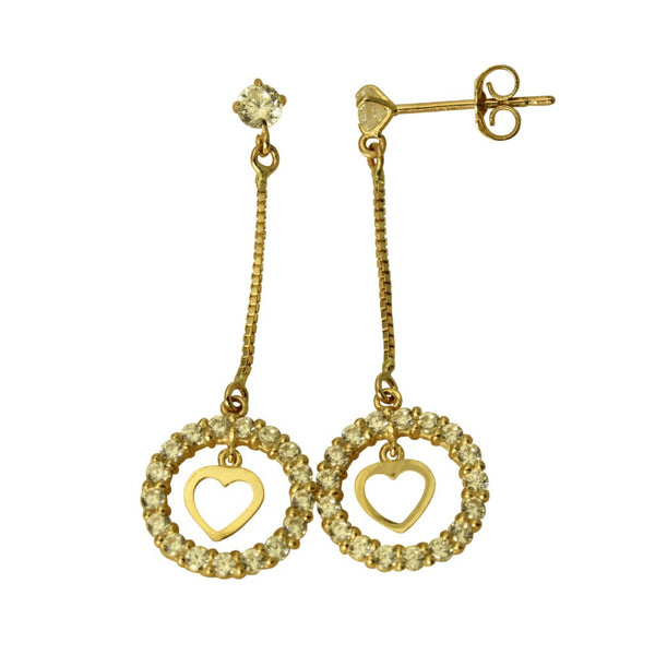 14K Real Yellow Gold Fancy Dangle Round Love Heart Cubic Zirconia Hanging Earrings