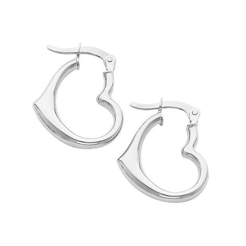 14K White Gold 2mm Thickness High Polished Small Heart Fancy Hinged Earrings
