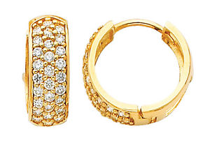 14K Real Yellow Gold 6mm Thickness 28 Stone Cubic Zirconia Round Polished Hoop Huggies Earrings