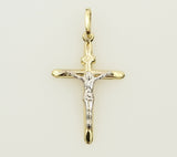 14K Real 2 Tone Yellow White Gold Half Hollow Jesus Stamped Crucifix Cross Religious Small Charm Pendant