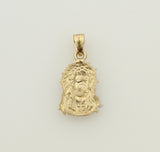 14K Real 2 Tone Yellow White Gold Very Small Jesus Face Thorn Crown Charm Pendant for Baby Children
