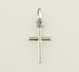 14K Real White Gold Religious Tiny Light Cross Charm Pendant for Baby & Children