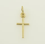 14K Real Yellow Gold Small Light Cross Charm Pendant for Baby & Children