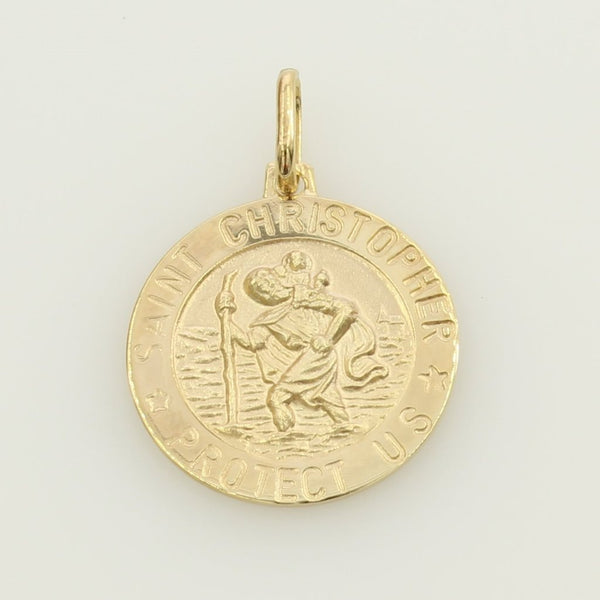 "14K Real Yellow Gold Religious ""Saint Christopher Protect Us"" Medal Small Charm Pendant"