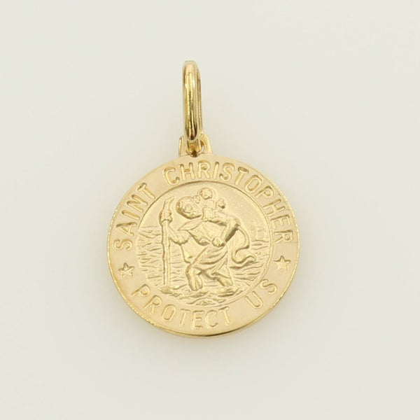 "14K Real Yellow Gold Religious ""Saint Christopher Pray for Us"" Medal Small Charm Pendant"