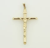 14K Real Yellow Gold Hollow Tube Jesus Cross Crucifix Religious Medium Charm Pendant