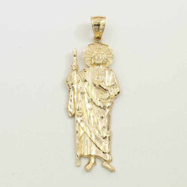 14K Real Yellow Gold Saint Jude Charm Pendant Open Back San Judas