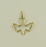 14K Real Yellow Gold Diamond Cut Small Light Holy Spirit Charm Pendant