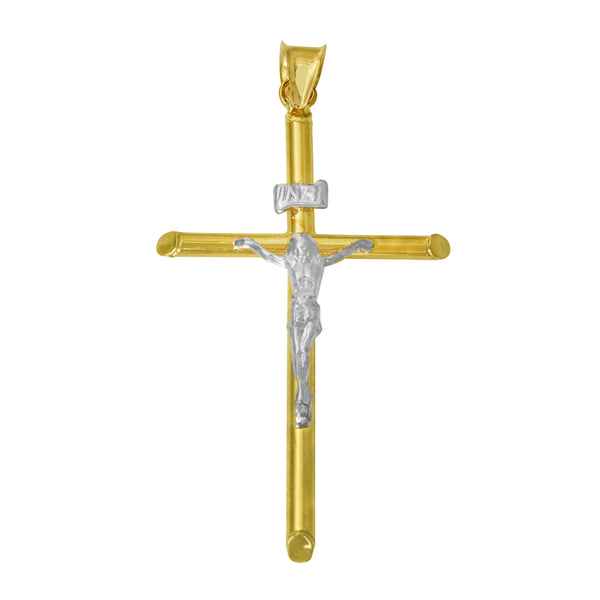 14K Real 2 Tone Yellow White Gold Jesus Hollow Tube Crucifix Cross Religious Charm Pendant
