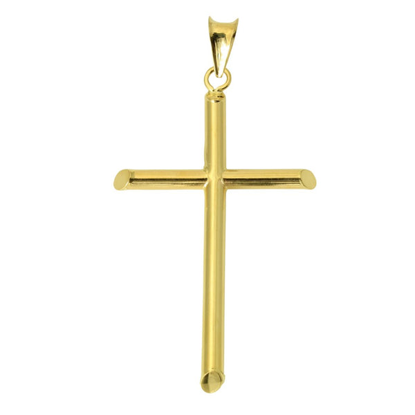 14K Real Yellow Gold Classic Hollow Tube Cross Religious Charm Pendant