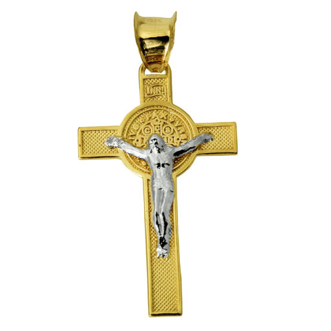 14K Real Yellow White Tow Tone Gold Fancy Crucifix Jesus Cross Religious Charm Pendant