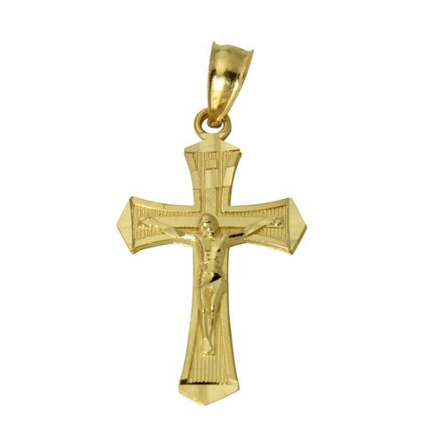 14K Real Yellow Gold Jesus Cross Crucifix Religious Small Charm Pendant