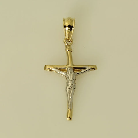 14K Real Yellow White Tow Tone Gold Fancy Crucifix Jesus Cross Religious Small Charm Pendant
