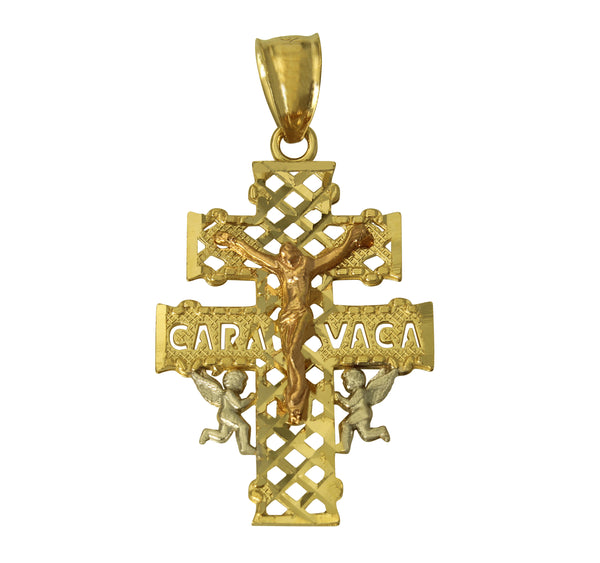 14K Real 3 Color Yellow White Rose Gold Jesus Crucifix Angel Caravaca Small Charm Pendant