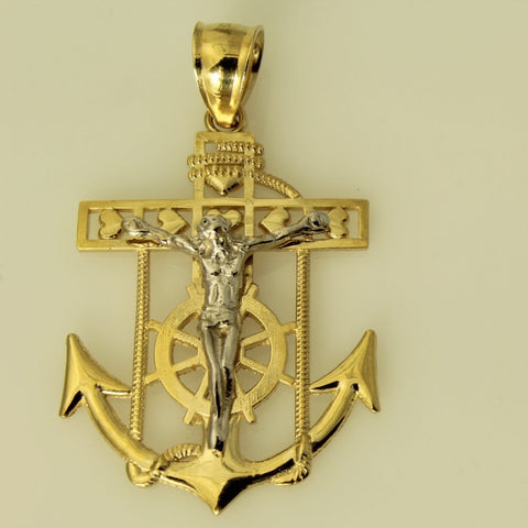 14K Real 2 Tone Yellow White Gold Jesus Anchor Crucifix Charm Pendant
