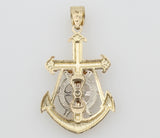 14K Real 3 Color Yellow White Rose Gold Jesus Crucifix Anchor Charm Pendant